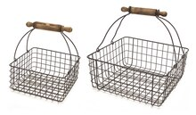 Wire Basket with Rolling Pin Handle Set