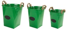 Green Buckets with Chalkboard Label & Rope Handle, Set of 3