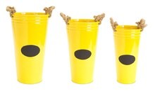Yellow Buckets with Chalkboard Label & Rope Handle, Set of 3