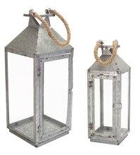 Galvanized Lanterns with Rope Handle (Set of 2)