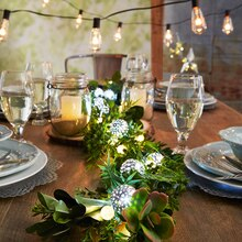 Lighted Garland with Hanging Mason Jars, medium