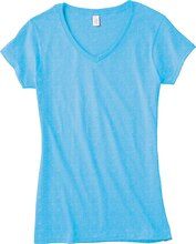 Gildan Short Sleeve Missy V-Neck T-Shirt, Large, Sky