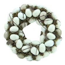 "12"" Green & Blue Robins Egg Feather Nest Wreath with Twigs, medium"