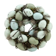 """9"""" Green & Blue Robins Egg Feather Nest Wreath with Twigs"""
