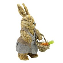 """12"""" Rustic Brown Sisal Mrs. Easter Bunny Rabbit with Carrots Figure"""