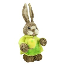 """11.75"""" Rustic Brown Sisal Mrs. Easter Bunny Rabbit with Egg Spring Figure"""