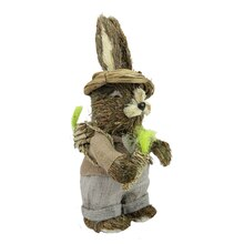 """12.5"""" Rustic Brown Sisal Mr. Easter Bunny Rabbit with Carrot Figure"""