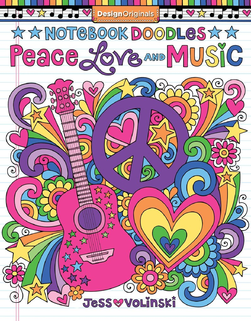 Notebook Doodles Peace Love Music Coloring Book