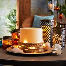 Lighted Rope and Candle Arrangement, medium