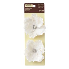 White Feather & Fabric Flower Embellishments by Recollections Signature