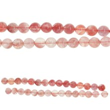 Bead Gallery Small Round Glass Beads, Cherry Quartz, Close Up