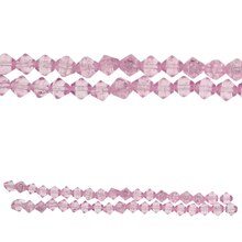 Bead Gallery Bicone Crackled Glass Beads, Pink, Close Up