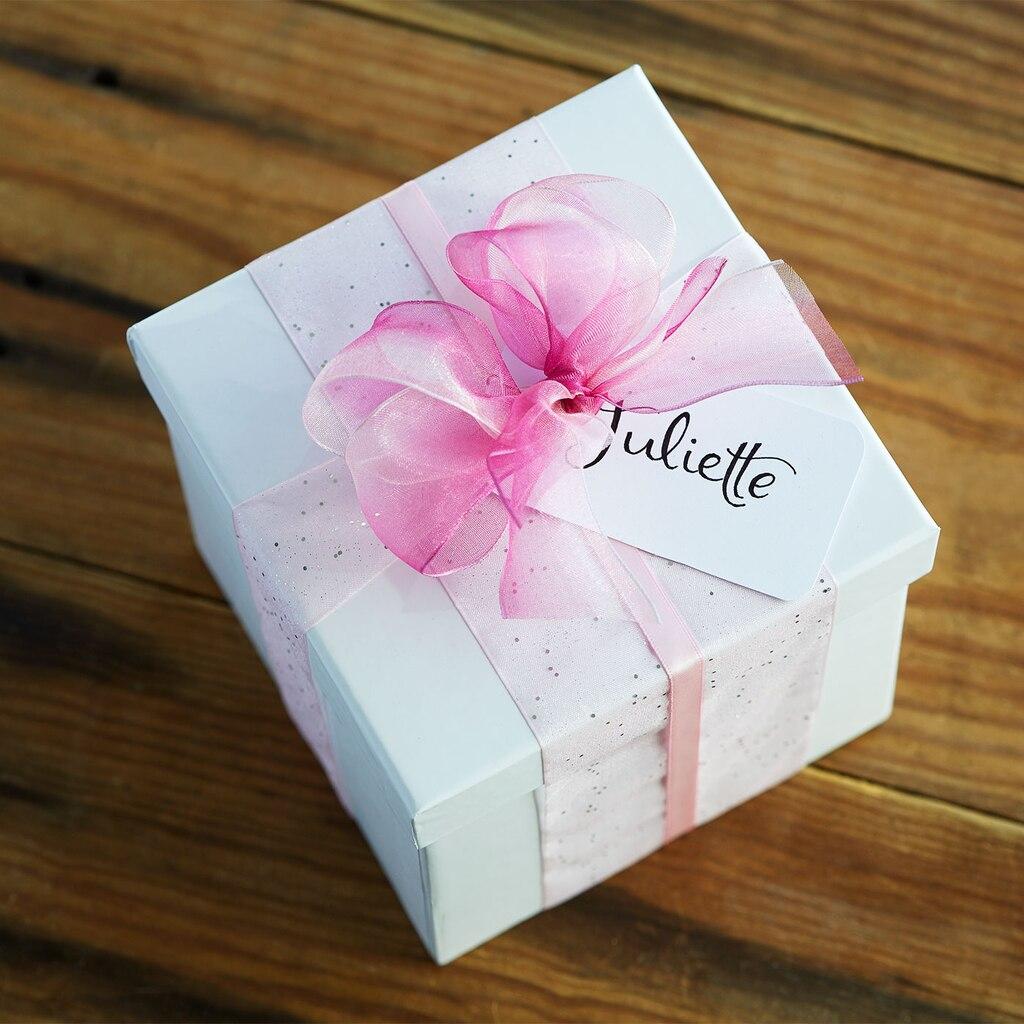 Pink Ribbon-Wrapped Gift Box