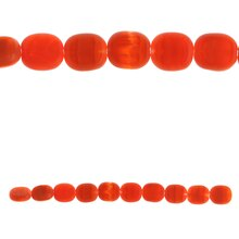 Bead Gallery Czech Glass Lentil Beads, Orange, Close Up