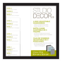 "Studio DéŽcor 4-Way Adjustable Shadowbox, Black 12"" x 12"""