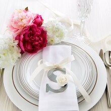 Rose Monogram Bridal Shower Napkin Ring Favor, medium