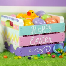 Egg Painted Easter Crate Basket, medium