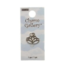 Charm Gallery Sterling Silver Plated Charm, Lotus Flower