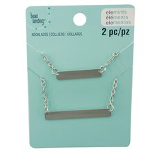 Elemints Rhodium Bar Chain Necklaces by Bead Landing