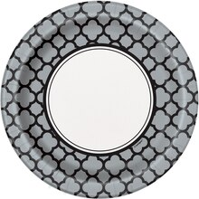 "7"" Quatrefoil Graduation Party Plates, 8ct"