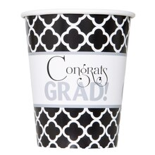 9oz Quatrefoil Graduation Paper Cups, 8ct
