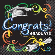 Chalkboard Graduation Luncheon Napkins, 16ct