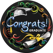 "7"" Chalkboard Graduation Party Plates, 8ct"
