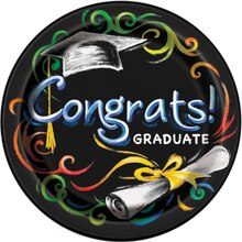 "9"" Chalkboard Graduation Party Plates, 8ct"