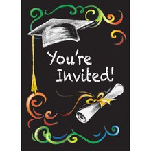 Chalkboard Graduation Invitations, 8ct