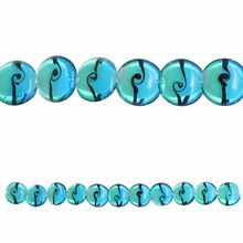Bead Gallery Lampwork Lentil Glass Beads, Aqua