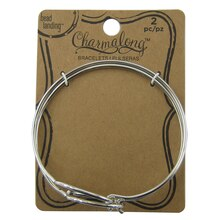 Charmalong Rhodium Oval Bangles by Bead Landing