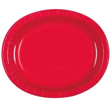 "12"" Oval Red Dinner Plates, 8ct"
