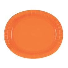 "12"" Oval Orange Dinner Plates, 8ct"