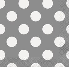 Silver Polka Dot Beverage Napkins, 16ct