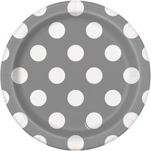 "7"" Silver Polka Dot Party Plates, 8ct"