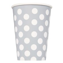 12oz Silver Polka Dot Paper Cups, 6ct