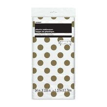 "Plastic Gold Polka Dot Tablecloth, 108"" x 54"""