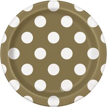 "7"" Gold Polka Dot Party Plates, 8ct"