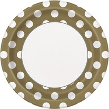 "9"" Gold Polka Dot Party Plates, 8ct"