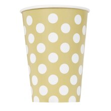 12oz Gold Polka Dot Paper Cups, 6ct