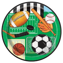 "7"" Classic Sports Party Plates, 8ct"