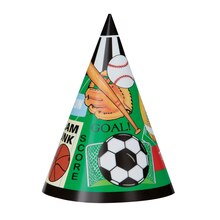 Classic Sports Party Hats, 8ct