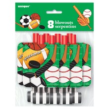 Classic Sports Party Blowers, 8ct, Packaging