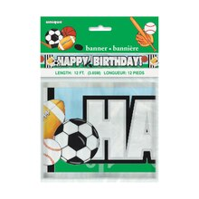 Foil Classic Sports Birthday Banner, 12 Ft., Packaging