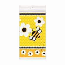 "Plastic Bumble Bee Tablecloth, 84"" x 54"""