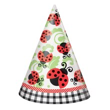 Ladybug Party Hats, 8ct