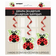 Hanging Ladybug Decorations, 3ct