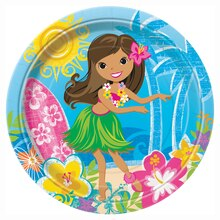 "9"" Hula Girl Luau Party Plates, 8ct"