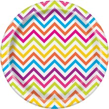 "7"" Rainbow Chevron Party Plates, 8ct"