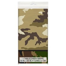 "Plastic Military Camouflage Tablecloth, 84"" x 54"""